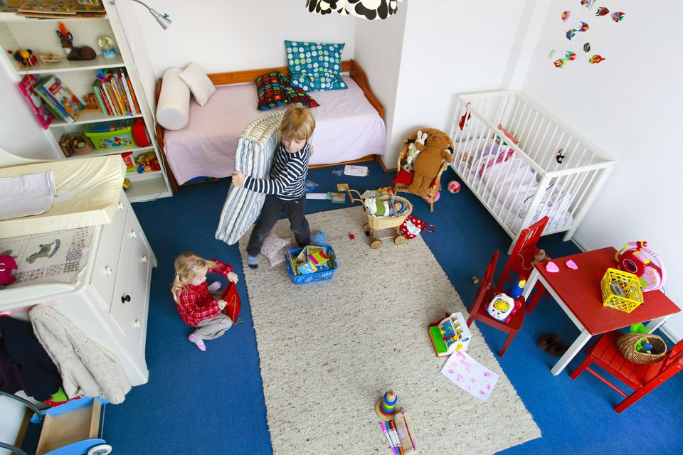 Children Help With Cleaning Bedroom